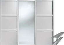 Shaker Style White 2 Panel & 1 Mirror Door & Track Set to suit an opening width of 2692mm