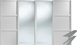 SHAKER WHITE STYLE PANEL AND MIRROR SLIDING WARDROBE DOORS AND TRACK SET