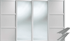 Shaker Style White 2 Panel & 2 Mirror Doors & Track Set to suit an opening width of 3607mm