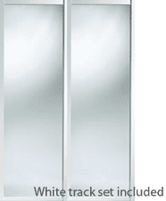 Shaker Style White Frame Mirror Door & Track Set to suit an opening width of 1498mm
