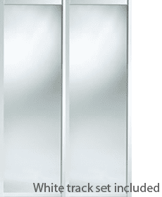 iSpace shaker white framed mirror doors and track sets