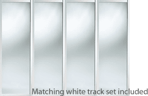 SHAKER WHITE STYLE SLIDING WARDROBE DOORS AND TRACK SET