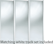 Shaker Style White Frame Mirror Door & Track Set to suit an opening width of 2692mm