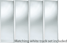 Shaker Style White Frame Mirror Door & Track Set to suit an opening width of 3607mm