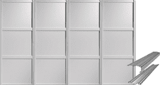Shaker Style White Panel Door & Track Set to suit an opening width of 3607mm