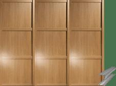 Shaker Style Windsor Oak Frame Panel Door & Track Set to suit an opening width of 2235mm