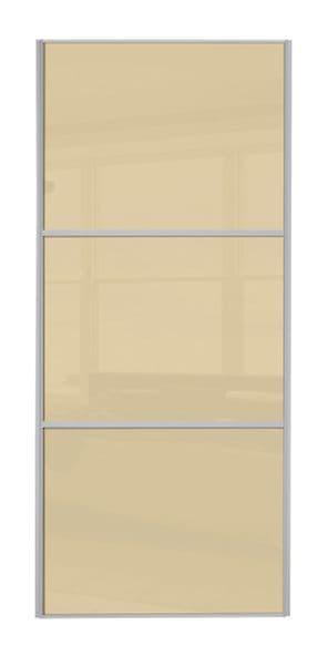 Wideline sliding wardrobe door, Beech frame/ Cream glass