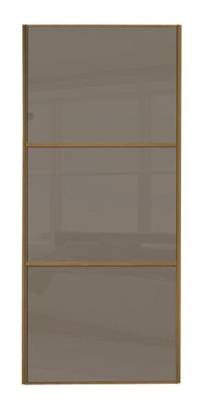 Wideline sliding wardrobe door, Oak frame/ Cappuccino glass
