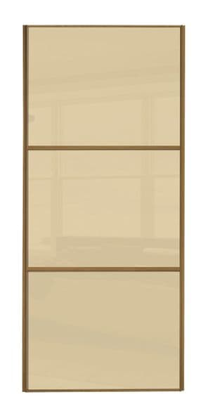 Wideline sliding wardrobe door, Oak frame/ Cream glass