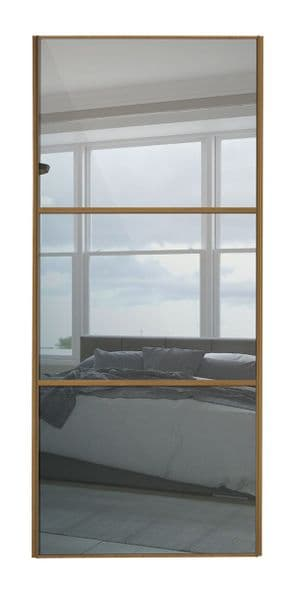 Wideline sliding wardrobe door, Oak frame/ Mirror