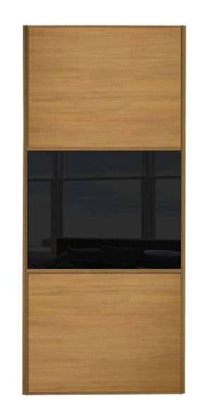 Wideline sliding wardrobe door, Oak frame, Oak-Black-Oak