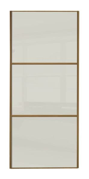Wideline sliding wardrobe door, Oak frame/ Soft white glass