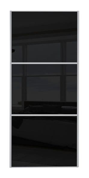 Wideline sliding wardrobe door, Silver frame/ Black glass