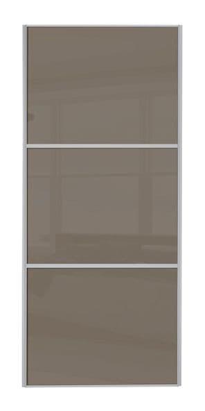 Wideline sliding wardrobe door, Silver frame/ Cappuccino glass