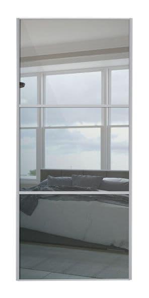 Wideline sliding wardrobe door, Silver frame/ Mirror