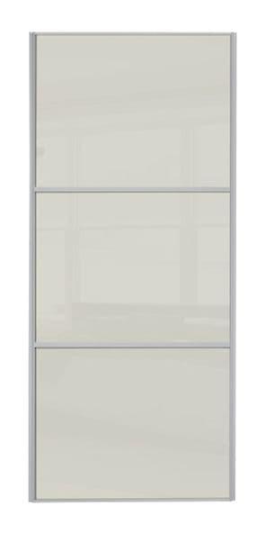 Wideline sliding wardrobe door, Silver frame/ Soft white glass