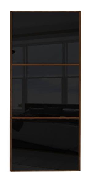 Wideline sliding wardrobe door, Walnut frame/ Black glass