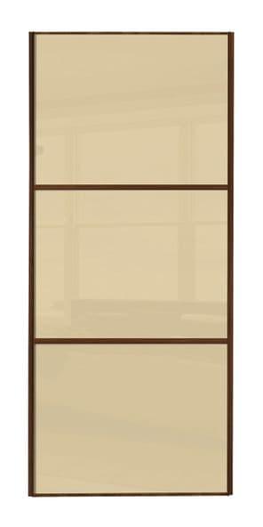 Wideline sliding wardrobe door, Walnut frame/ Cream glass