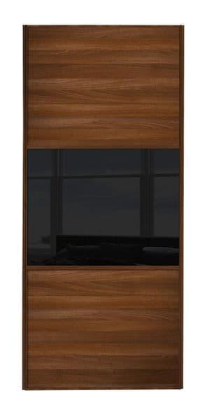 Wideline sliding wardrobe door, Walnut frame, Walnut-Black-Walnut