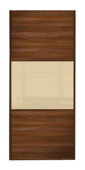 Wideline sliding wardrobe door, Walnut frame, Walnut-Cream-Walnut
