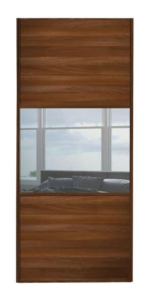 Wideline sliding wardrobe door, Walnut frame, Walnut-Mirror-Walnut