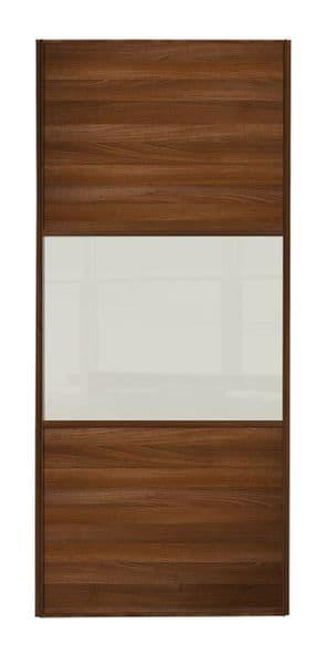 Wideline sliding wardrobe door, Walnut frame, Walnut-White-Walnut