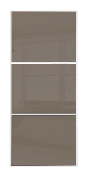 Wideline sliding wardrobe door, White frame/ Cappuccino glass