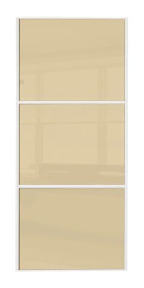 Wideline sliding wardrobe door, White frame/ Cream glass