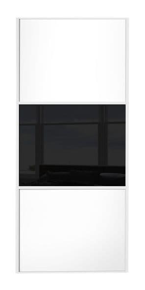 Wideline sliding wardrobe door, White frame, White-Black-White