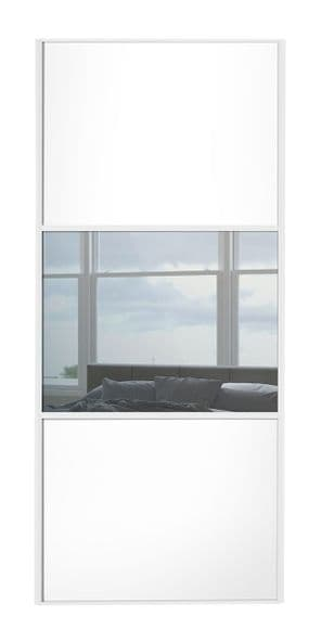 Wideline sliding wardrobe door, White frame, White-Mirror-White